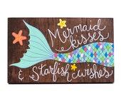 Mermaid sign, mermaid art, wood mermaid, mermaid painting, nautical nursery art, mermaid nursery art