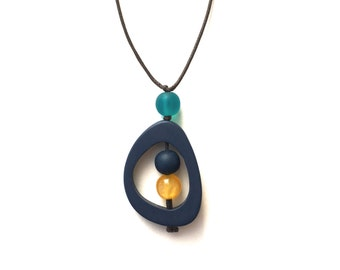 Modern Minimal Nursing Necklace - Baby Safe Breastfeeding Necklace - Monkey Mama Twiddle Buster - Navy Blue, Yellow, Teal