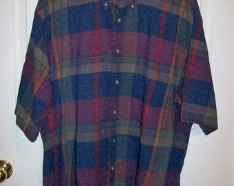 Vintage Men's Purple & Blue Plaid Shirt by Kenneth Gordon XL Only 8 USD