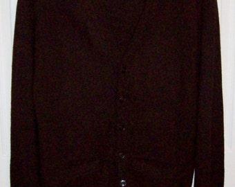 Vintage 1950s Men's Brown V Neck Cardigan Sweater Medium Only 15 USD