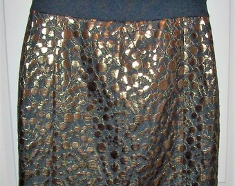 Vintage Ladies Black & Gold Metallic Skirt by The Limited Size 8 Only 7 USD