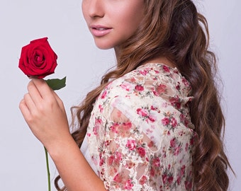 Colorful Wedding Lace Shawl, 4 Wearing Ways- Shrug, Shawl, Crisscross Or Infinity Scarf. Floral Lace Shawl/ Bolero For Bride, Gift For Moms