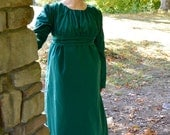 1810's/ Regency Era Hunter Green Day Gown/Dress