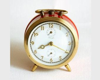 Vintage German alarm clock Kienzle mechanical wind up desk clock Working Collectible 1950's clock Industrial decor Red rustic home decor