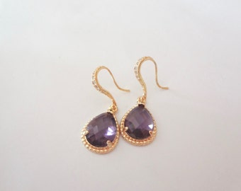 Gold Earrings - Amethyst - 14k Gold over Sterling Cubic Zirconia ear wires - Classy high quality jewelry - Bridal - formal - Bridesmaids -