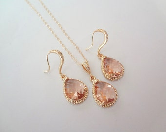 Champagne, peach, earrings and necklace set - Gold filled - 14k Gold over Sterling Cubic Zirconia earrings -High quality-Bridal jewelry,Gift