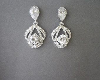 Crystal earrings ~ Wedding earrings ~ Brides earrings ~ Sterling silver posts ~ Bridal earrings ~ Mother of the bride earrings, Gift