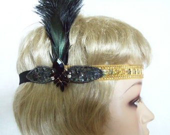 Gold Great Gatsby Headpiece - Black and Gold Flapper Headband - 1920s Headpiece - Flapper Costume - Roaring 20's Headband