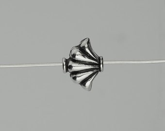 Set of 6 Bali Sterling Silver Scroll or Fan Beads Small Hollow 8x10mm