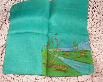 Vintage Hand Painted Desert Hanky Mint Condition Signed Mountains Green