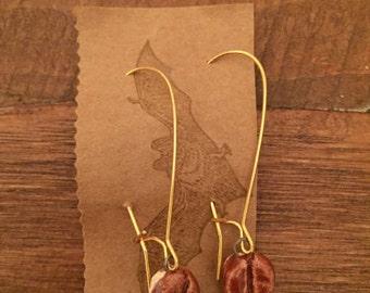 Coffee Bean Drop Earrings