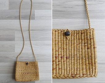 Vintage 80's Woven Straw Basket Sling Bag