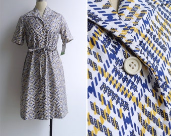 15% SALE (Code In Shop) - Vintage 70's 'Zipper Track' Abstract Geometric Print Cotton Dress M