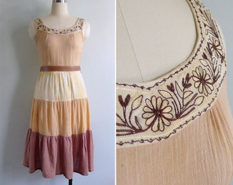 Vintage 80's Indian Gauze Embroidered Crinkled Cotton Tiered Dress XS or S