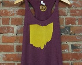Racerback SUPER SOFT Vintage Feel Tank - 'Ohio State' on TriBlend Maroon in Gold Ink
