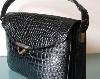 Black Faux Alligator Leather Shoulder Bag
