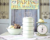 Vintage Miner's Lunchbox - Mint Green Enamel Lunch Tin - Stackable Lunch Box