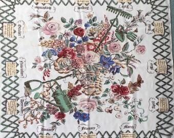 Beautiful Jacqmar Scarf, Gardeners Calendar, Arnold Lever