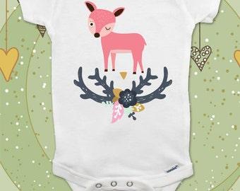 Deer Boho baby onesie bodysuit, kids youth shirt Toddler T-Shirts