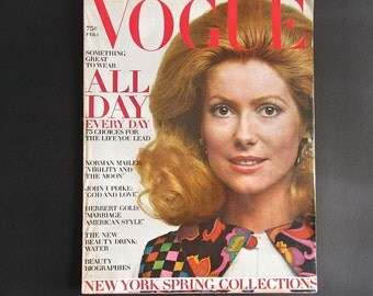Vintage Vogue 1971 - Fashion Illustration - Catherine Deneuve - Beauty - Beverly Johnson - Ads - Home Decor - Norman Mailer - John Updike