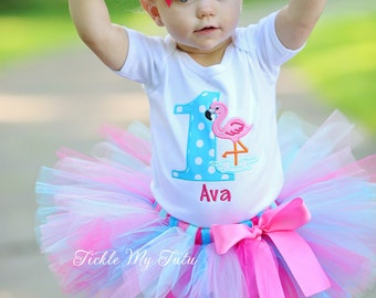 Flamingo Themed Birthday Tutu Outfit-Pink Flamingo Birthday Tutu Outfit-Flamingo Pool Party Birthday Tutu Set *Bow NOT Included*