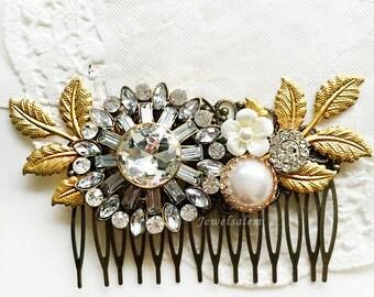 Hair Comb Wedding Hair Clip Bridal Rhinestone Hair Slide Gold Leaves Pearl White Flower Hair Comb for Bride Victorian Vintage Style
