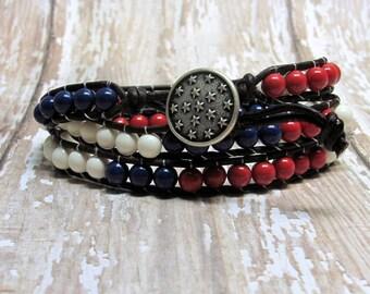 Patriotic Leather Wrap Bracelet, Wrap Bracelet, Leather Bracelet, Red, White and Blue Bracelet, Fourth of July Bracelet, July 4th Jewelry