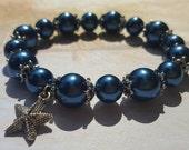 Deep Blue Sea Glass Pearl Bracelet with Starfish Charm
