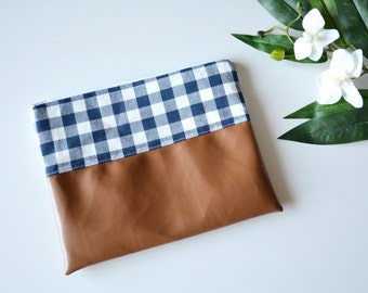 Blue gingham clutch with faux leather, vintage inspired, blue bag, Small bag, Clutch bag, Clutch purse, Leather purse, Womens purse