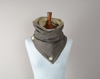 Cowl scarf, neckwarmer, brown cowl, unisex gift, gift for her, wool scarf, holiday gift, wool cowl, brown shawl, alicecloset