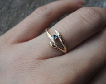 Twig Ring Branch Ring - Engagement Wedding Ring - Solid Gold Yellow Rose 10K 14K - White Blue Black Sustainable Diamond