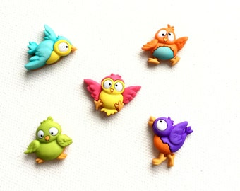 Bird Magnets, Sweet Little Birds, Colorful, Spring Decor, Easter Magnets, Neodymium, Office Kitchen Decor