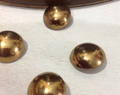 Set of 4 flat back gold tone metal buttons