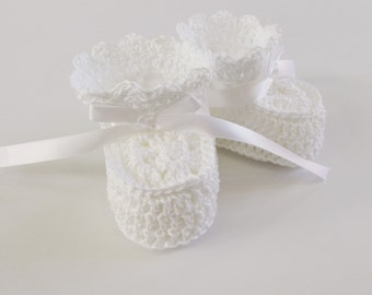 Baby Shoes for Baptism, Crochet Cotton Baby Booties, Crochet Baby Shoes Newborns