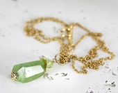 Raw Peridot Necklace - Raw Stone Necklace - Peridot Pendant - August Birthstone Necklace - Peridot Jewelry - Gemstone Jewelry