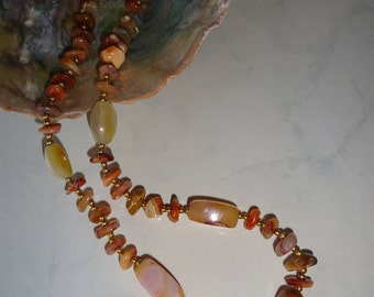 Vintage Agate Necklace Chunky Agate Beads Tumbled Polished Earth Tones