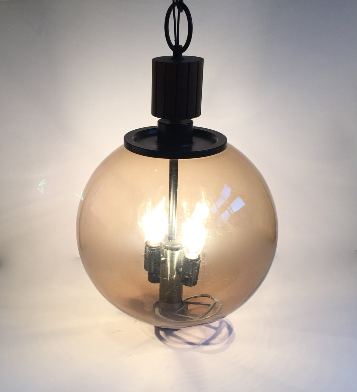 Large Smoked Glass Globe Hanging Pendant Light Fixture