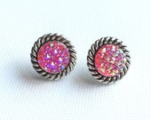Pink Druzy Earrings, Pink Round Studs, Pink Galaxy Studs, Faux Druzy, Silver Tone Rope