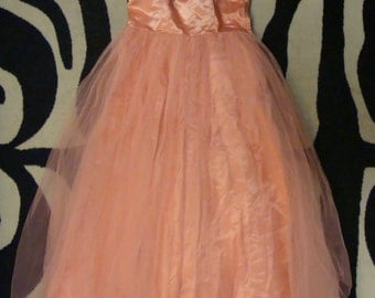 PEACHY PINK vintage PROM dress gown formal 50's 60's S