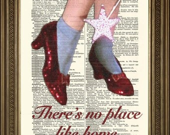 "WIZARD OF OZ: No Place Like Home Dictionary Print, Red Ruby Slippers Wall Art (8 x 10"")"