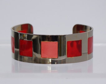 RED CUFF BRACELET - Vintage cuff bracelet in silver tone with inset red panels like stain glass windows - vintage red and silver tone cuff