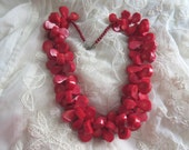 HEAVY Chunky Genuine Red Coral Tribal Statement Necklace Ocean Sea Beach Coral Beads Destash Upcycle Cruise Wear