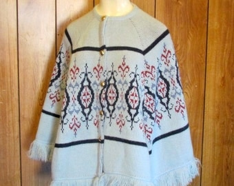 On SALE- 1960's BLUE Sweater  PONCHO
