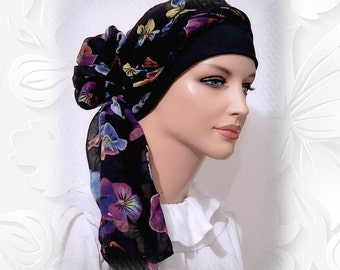 2-in-1 Lightweight Floral Head Scarf Wrap Tichel Snood Mitpachat with Matching Knit Cap Turban