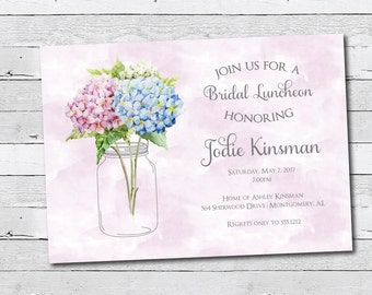 Retirement party invitation, Bridal Shower Invitation, Birthday invite, Printable, Mason Jar, Bridal Invitation, Hydrangea, Blue