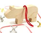 Wood Christmas Ornament, Hippo Ornament, Christmas Decoration, Wooden Hippopotamus, Animal Ornament