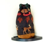 Vintage Large  Wool Pendleton Southwestern  Navajo Moose Canoe Motif Leather Backpack Bucket Bag Made in USA
