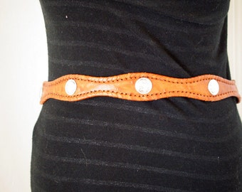 Vintage WESTERN Cowboy  Leather Saddle Tan CONCHO Mexican Studded Belt Skinny 34 35 36 37 38
