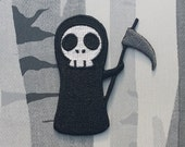 Cute Grim Reaper Death Embroidered Patch Applique Very Gothic Emo Punk