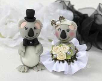 Custom wedding cake topper, koala cake topper, bear cake topper, personalized bride and groom with banner